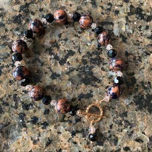 Semiprecious Gemstone & Austrian Crystal Bracelet